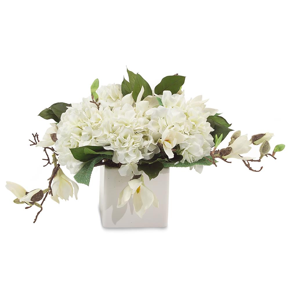 Faux white annabelle hydrangea flowers magnolia branches in white faux white annabelle hydrangea flowers magnolia branches in white cube vase kathy kuo home reviewsmspy