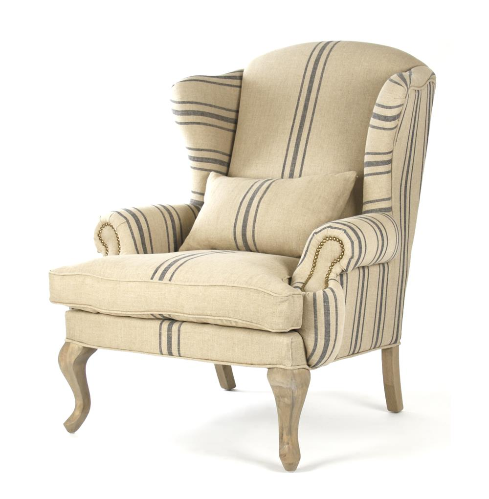 Zacharie Khaki Linen English Wing Chair with Blue Stripe