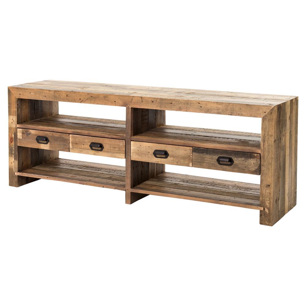 Stylish Rustic Media Console : Hunter Modern Rustic Lodge Reclaimed Wood Open Media Cabinet  Kathy ...