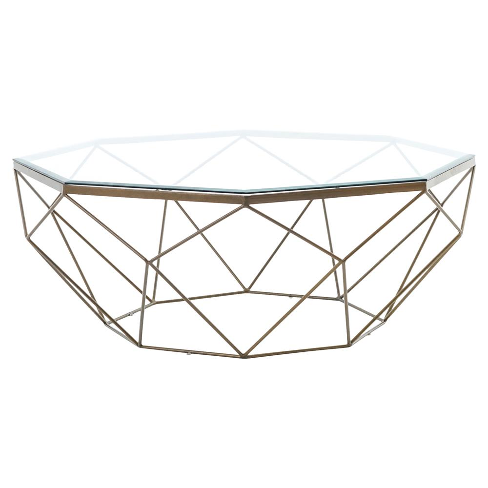 Dixon Geometric Modern Antique Brass Octagonal Coffee Table | Kathy Kuo  Home ...