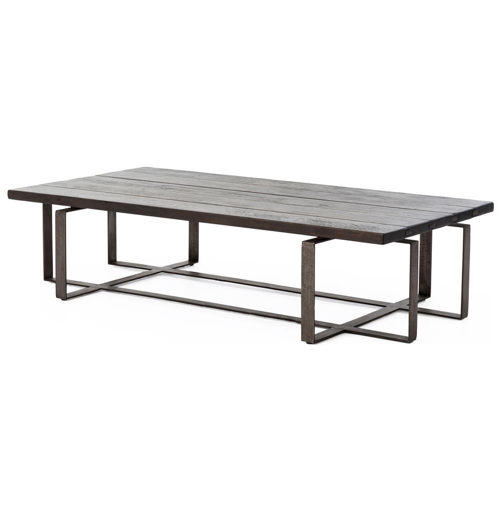 Jared galvanized iron dark grey oak geometric coffee table for Geometric coffee table