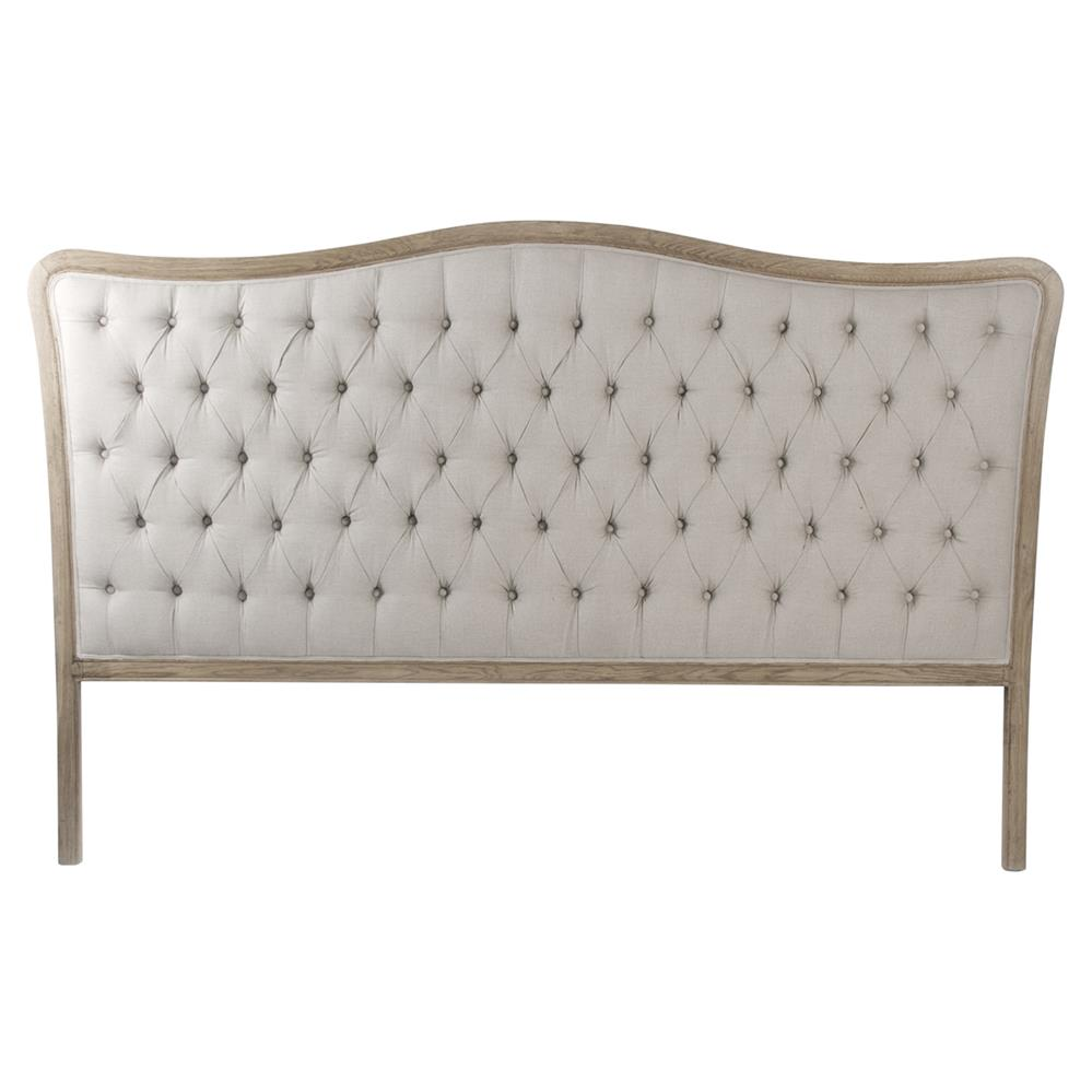 Lille French Country Natural Oak Linen Tufted Headboard