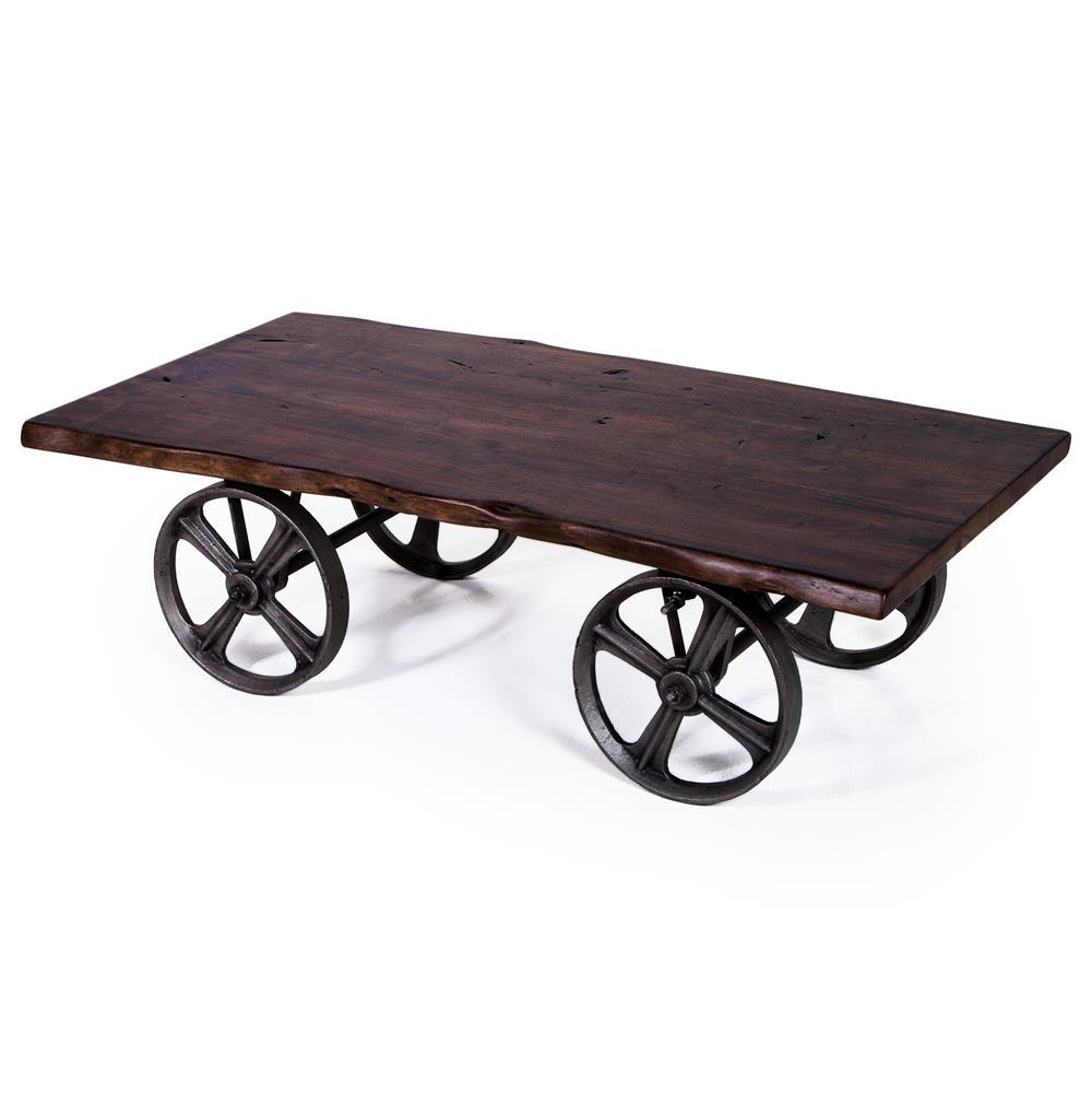 Sullivan Industrial Loft Walnut Iron Rolling Rustic Cart Coffee Table Kathy Kuo Home