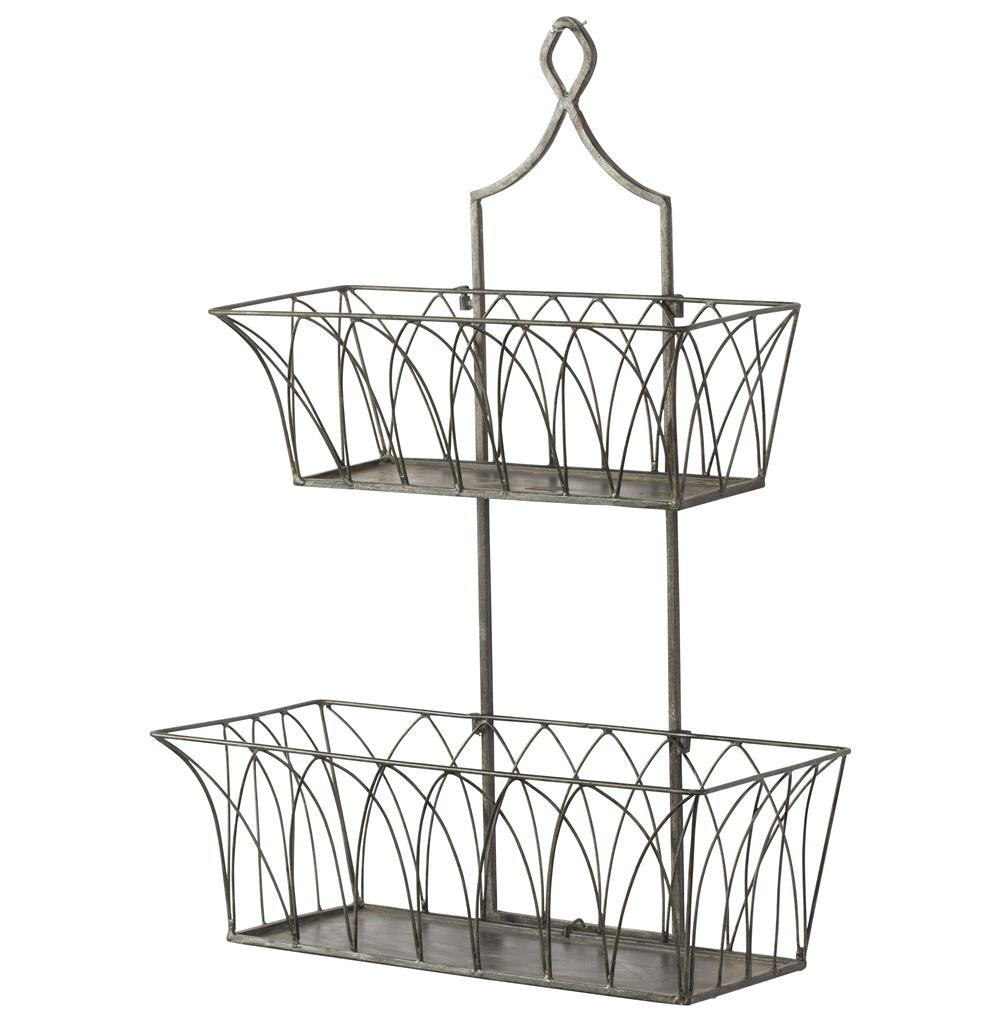 French Country Rectangular Metal 2 Tier Garden Wall Basket   Pair   Kathy  Kuo Home ...