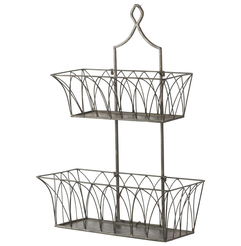 French Country Rectangular Metal 2 Tier Garden Wall Basket - Pair