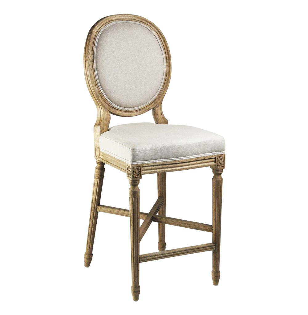 French Provincial Kitchen Stools: French Country Medallion Back Light Linen Bar Stool