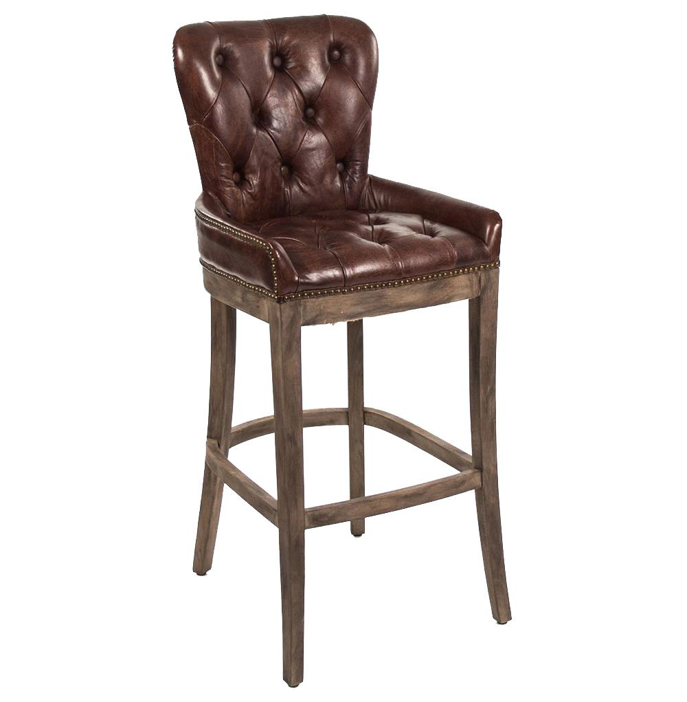 Leather Bar Stools ~ Ridley rustic lodge tufted brown leather bar stool kathy