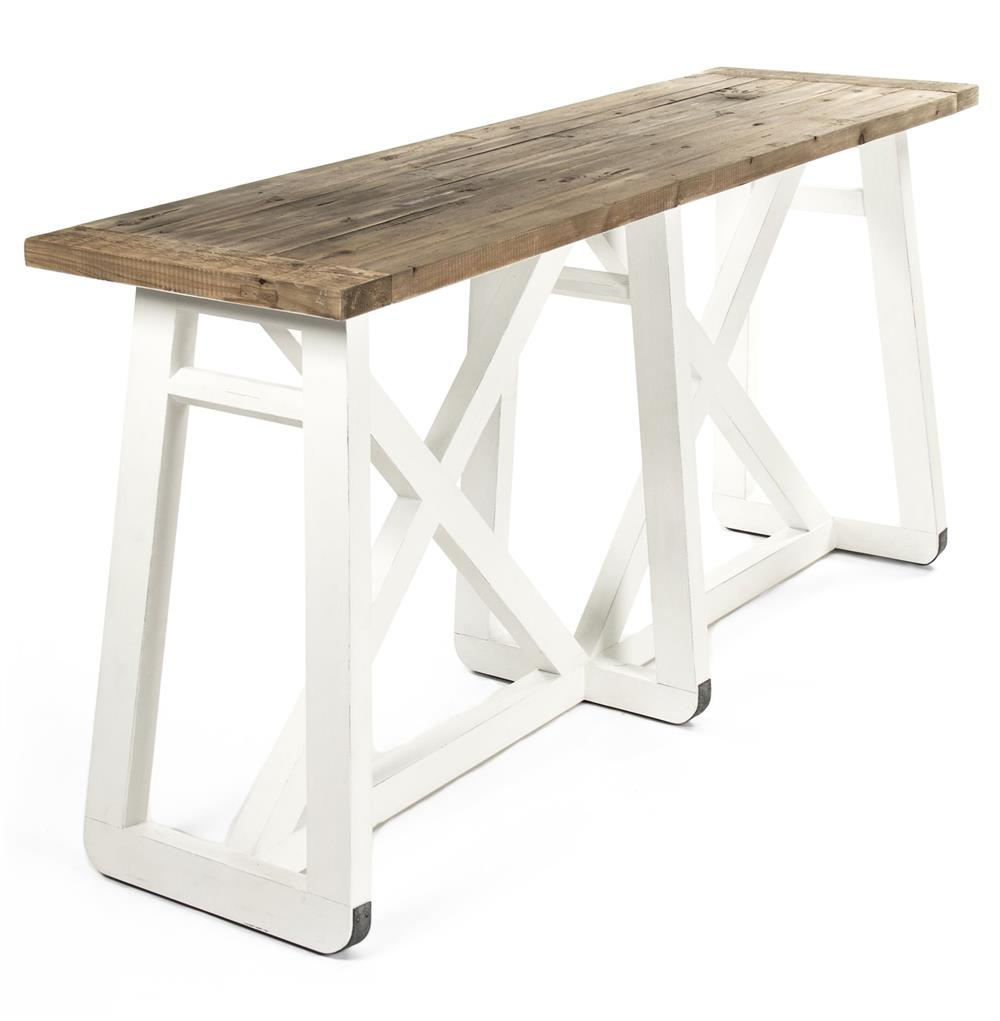 Mirabel Coastal Beach Rustic White Reclaimed Wood X Base Sofa Console Table  | Kathy Kuo Home ...