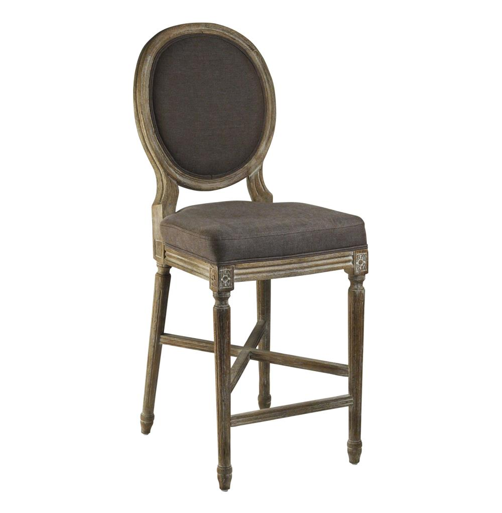 Medallion Oak French Country Bar Stool In Aubergine Brown