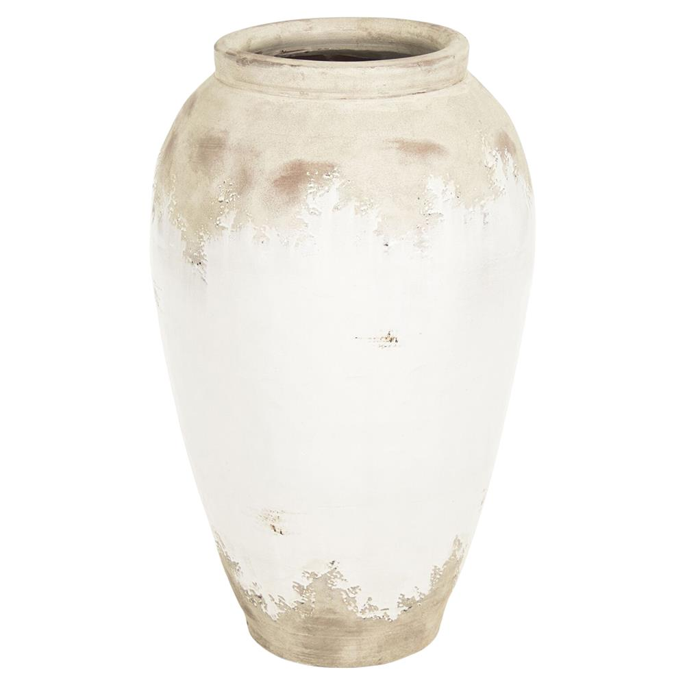Siena White Rustic Distressed White Ceramic Floor Vase 31 Inch