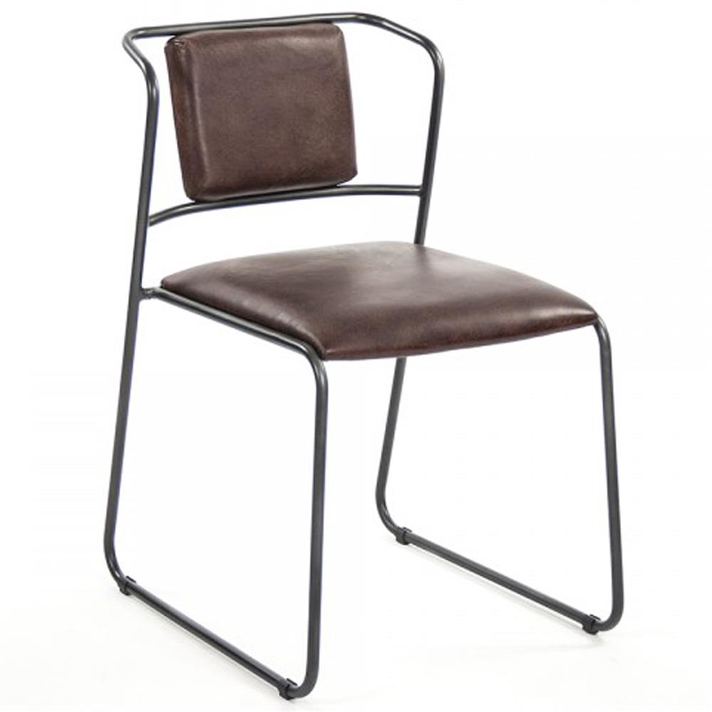 Artemis mid century modern industrial rustic iron leather for Modern leather dining room chairs