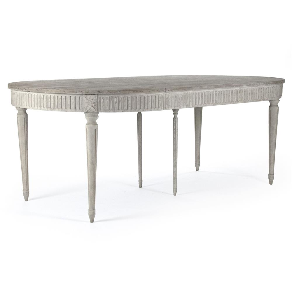 Floren French Country White Wash Oak Extendable Breakfast Oval Dining Table  | Kathy Kuo Home ...