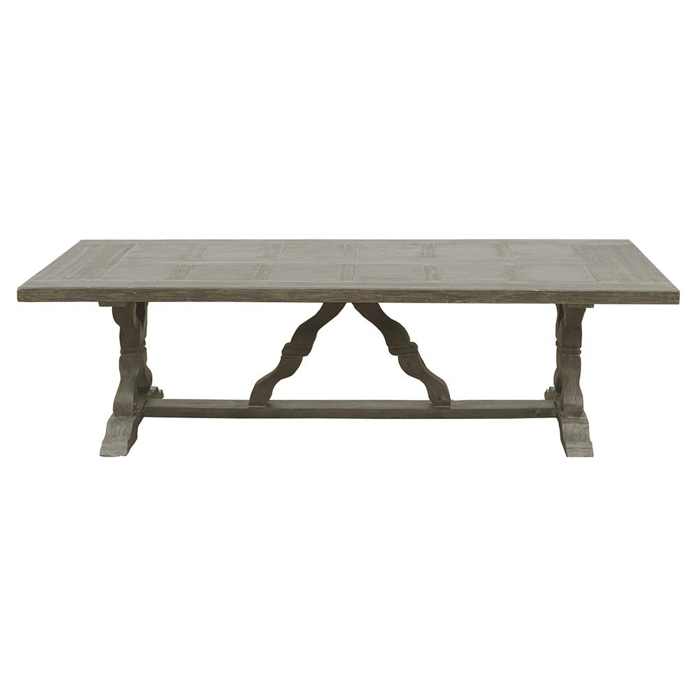 Parquet Top Rustic Large Outdoor Safe Dining Table Kathy Kuo Home