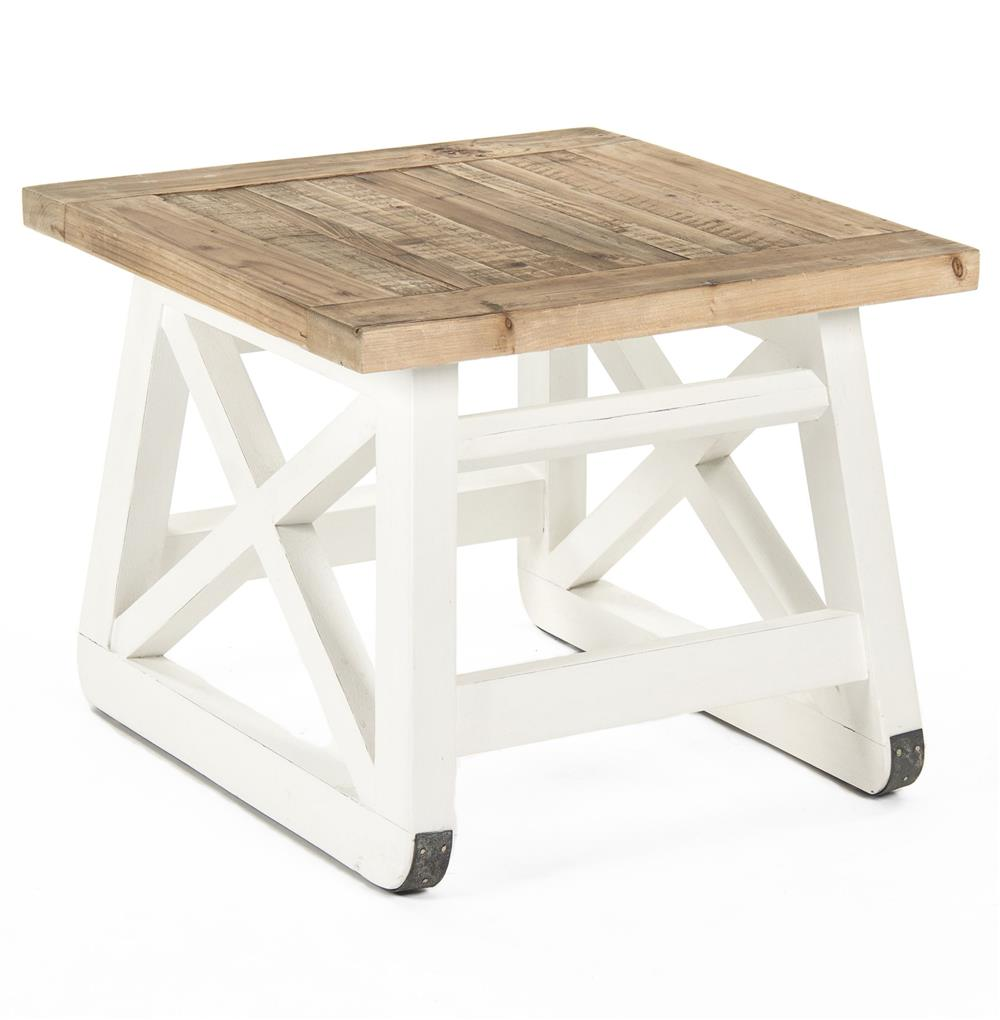 Mirabel coastal beach rustic white reclaimed wood x base for White end table