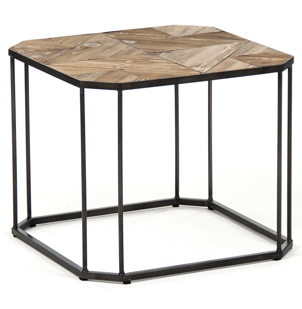 Kieran Reclaimed Wood Parquet Industrial Iron Long Bench Side End Table |  Kathy Kuo Home