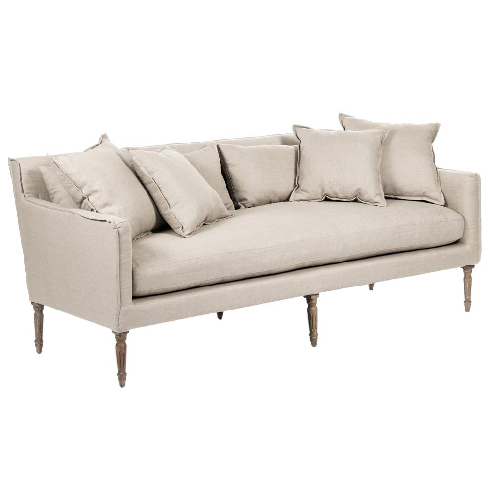 George Modern French Country Linen Grey Oak Louis Style Sofa - photo#1