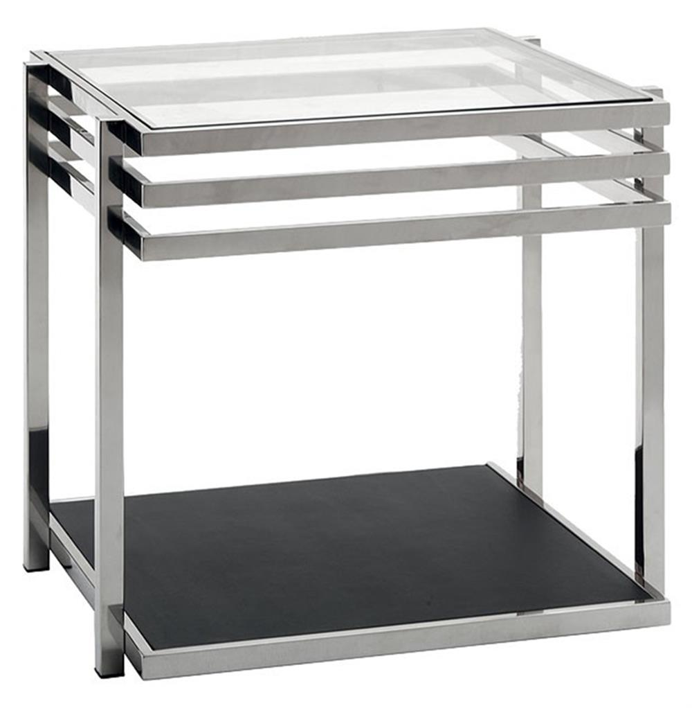 Reuben Modern Classic Stainless Steel Glass Side End Table