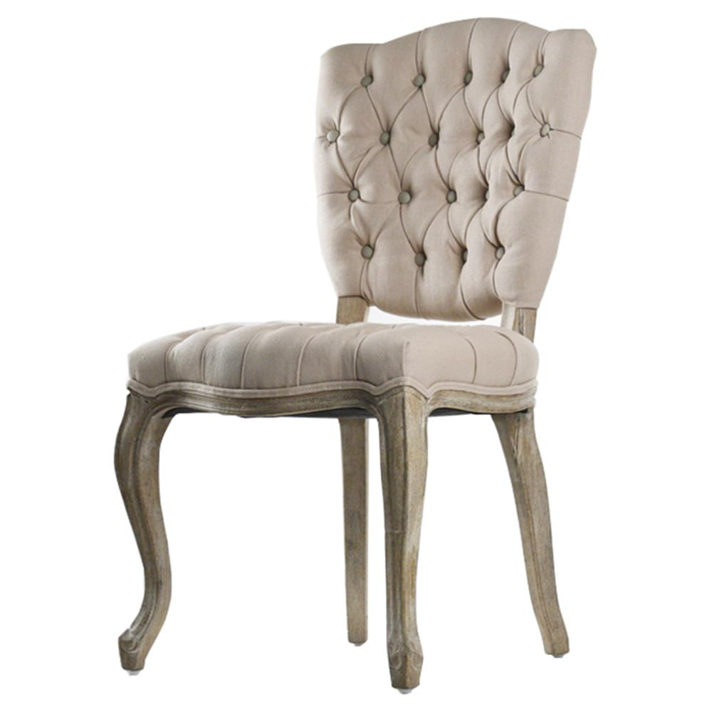 French Country Tufted Hemp Linen Piaf Dining Chair Kathy