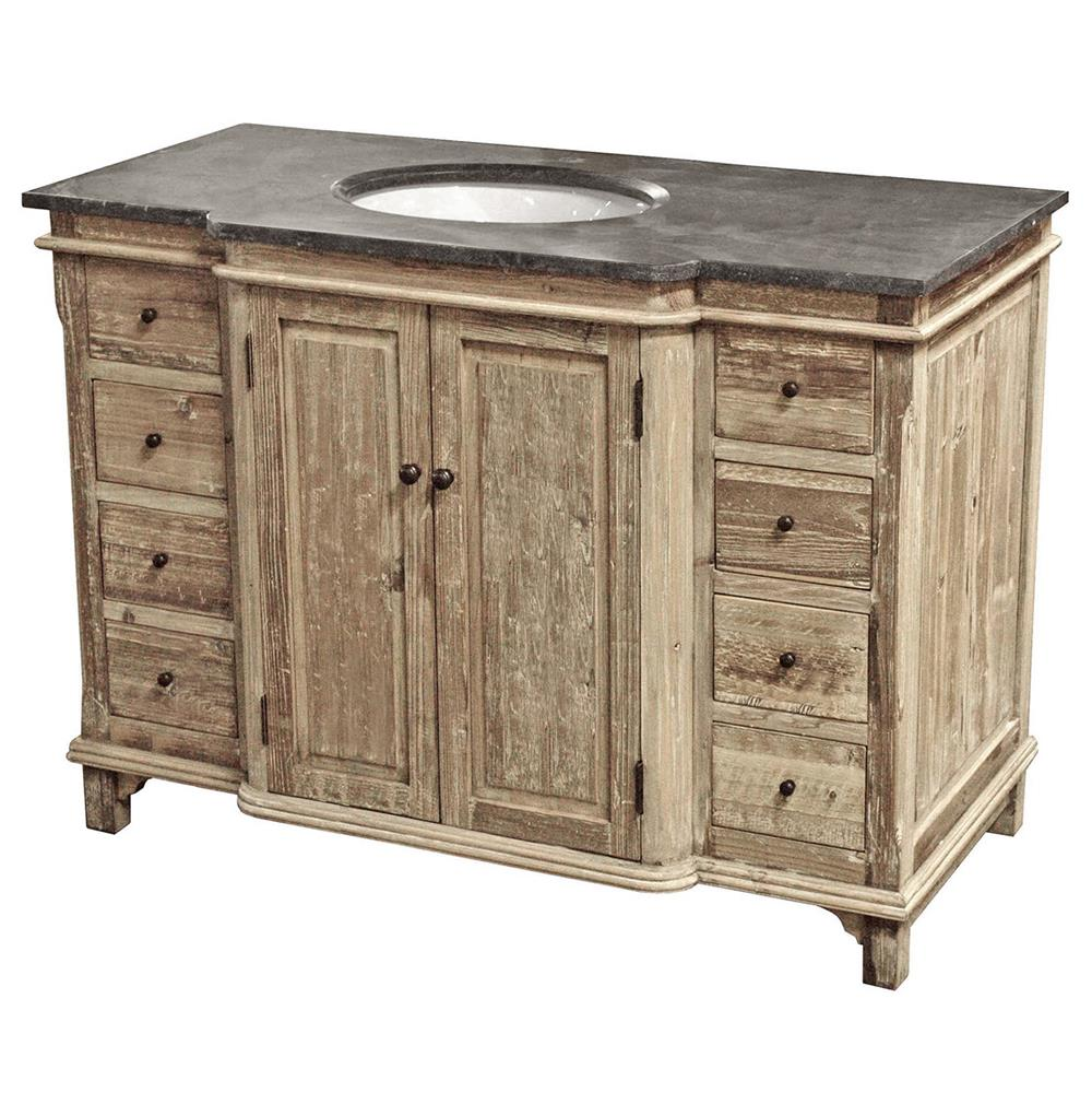 Sinclar French Country Reclaimed Pine Wash Blue Stone Single Bath Vanity  Sink | Kathy Kuo Home