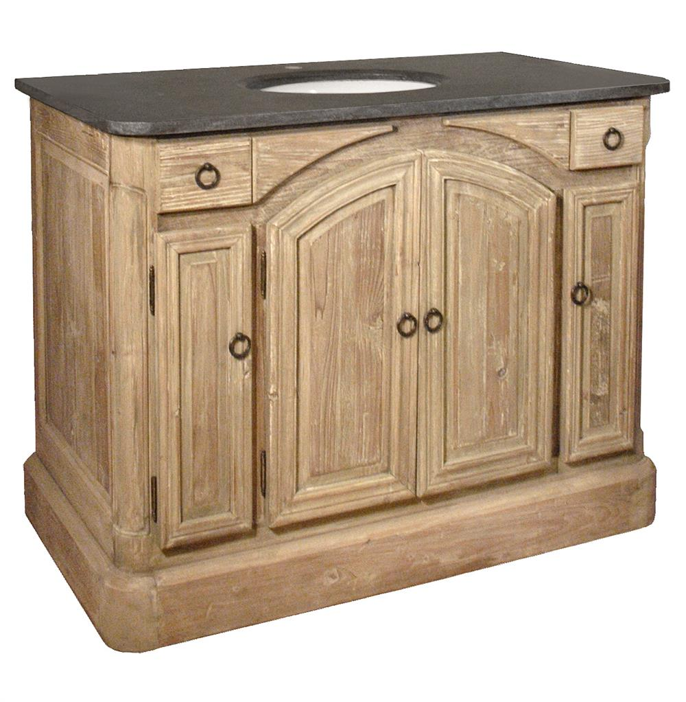 French Country Bathroom Vanities: Cavelier French Country Reclaimed Pine Arched Doors Single