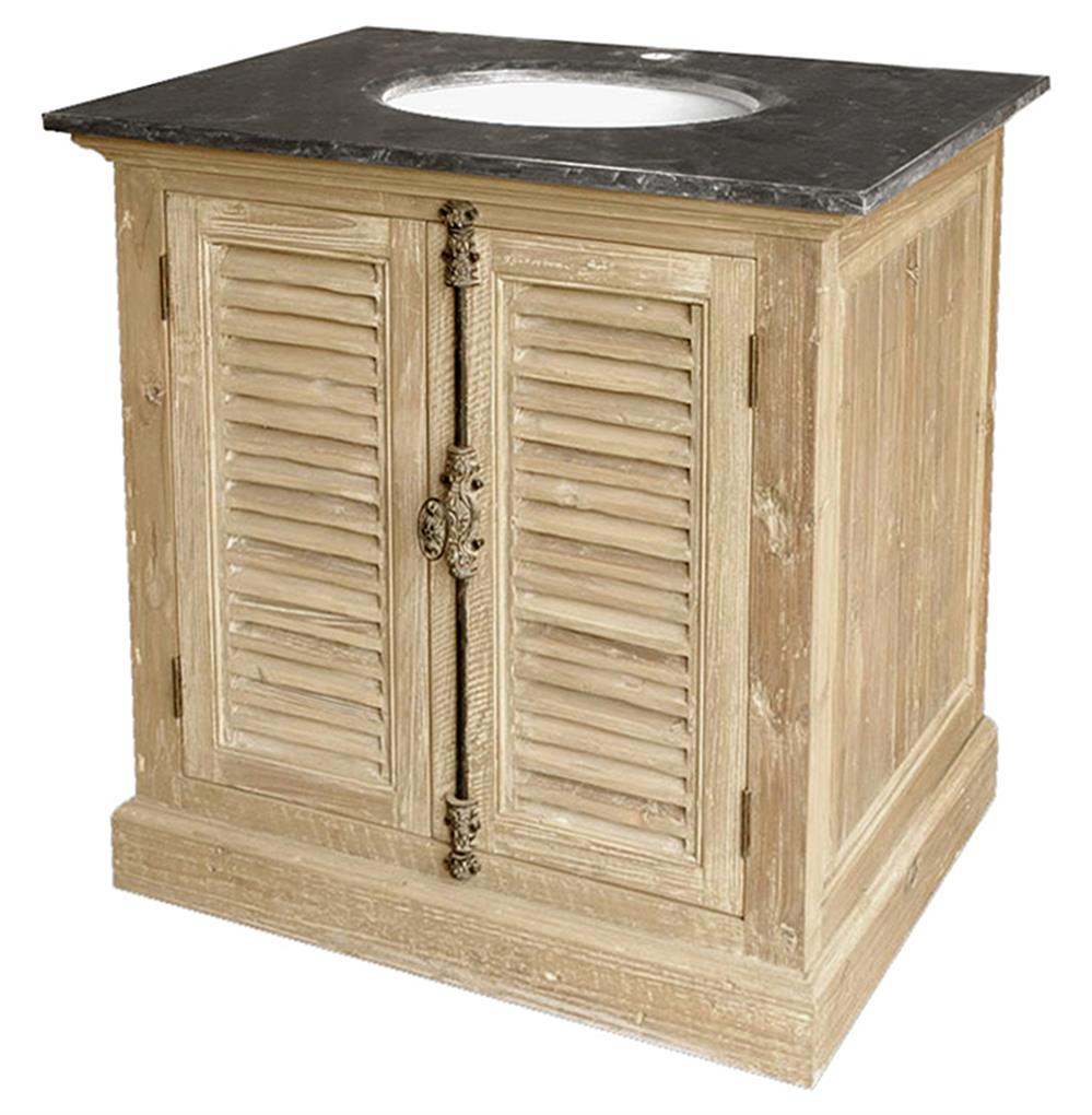 French Country Bathroom Vanities: Marron French Country Reclaimed Pine Wash Slat Doors