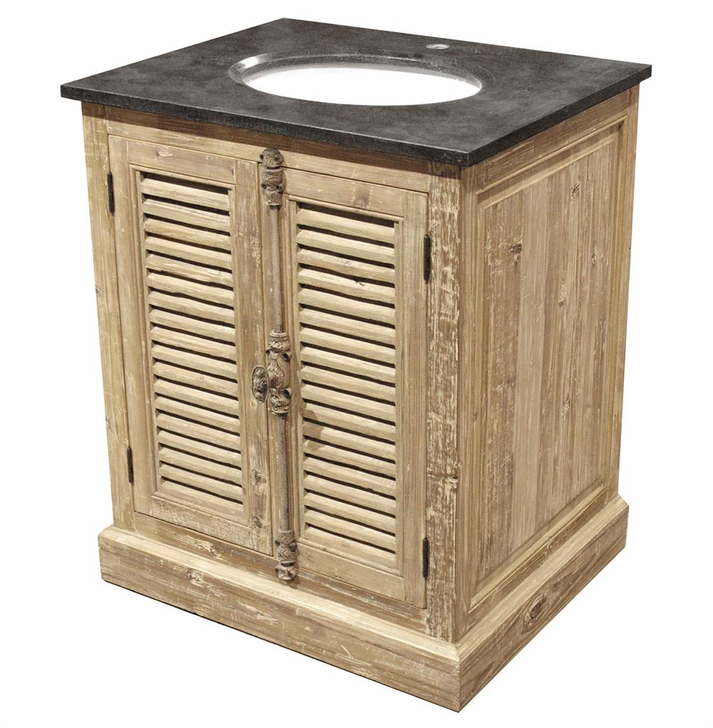 French Country Bathroom Vanities: Lilian French Country Reclaimed Pine Wash Slat Doors