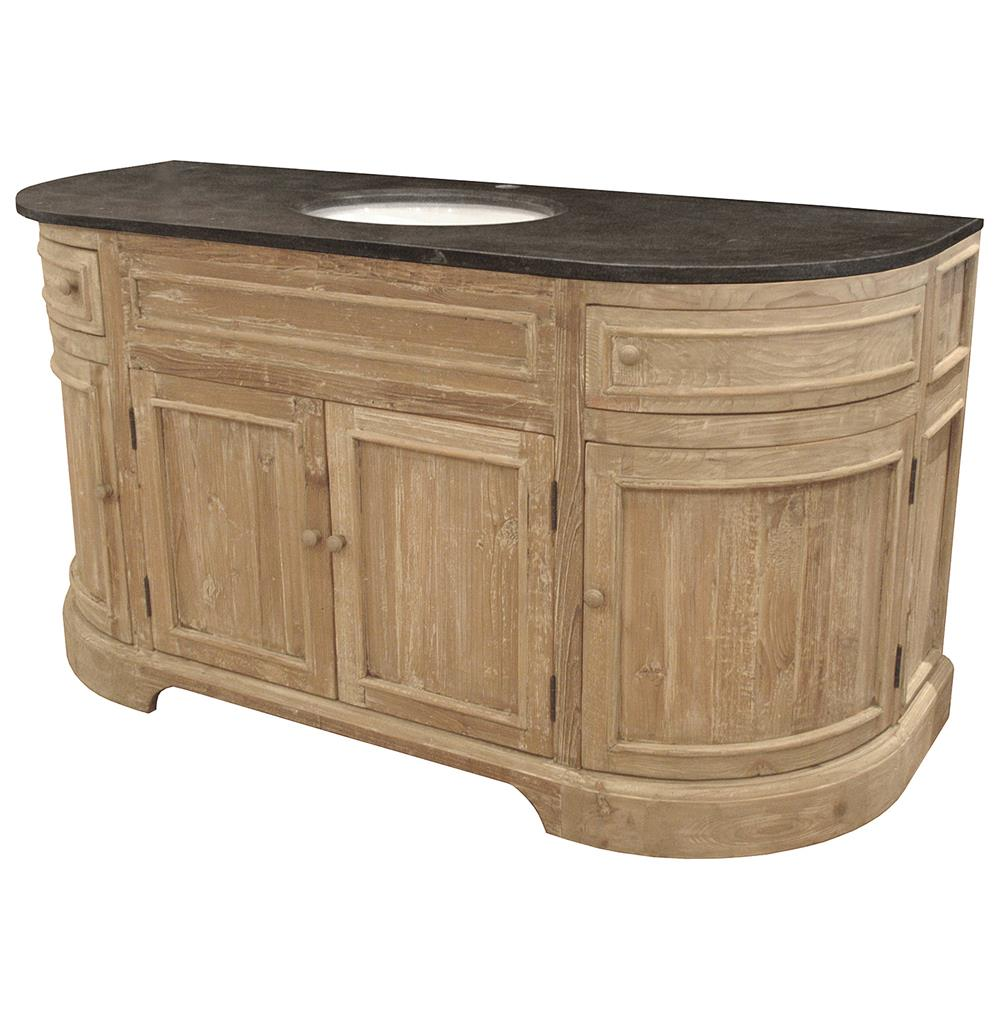 Wonderful Ginette French Country Reclaimed Pine Wash Curved Single Bath Vanity Sink |  Kathy Kuo Home