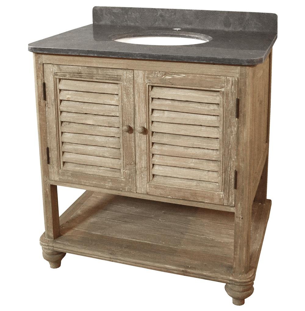 Rubel French Country Reclaimed Pine Wash Shelf Single Bath Vanity Sink