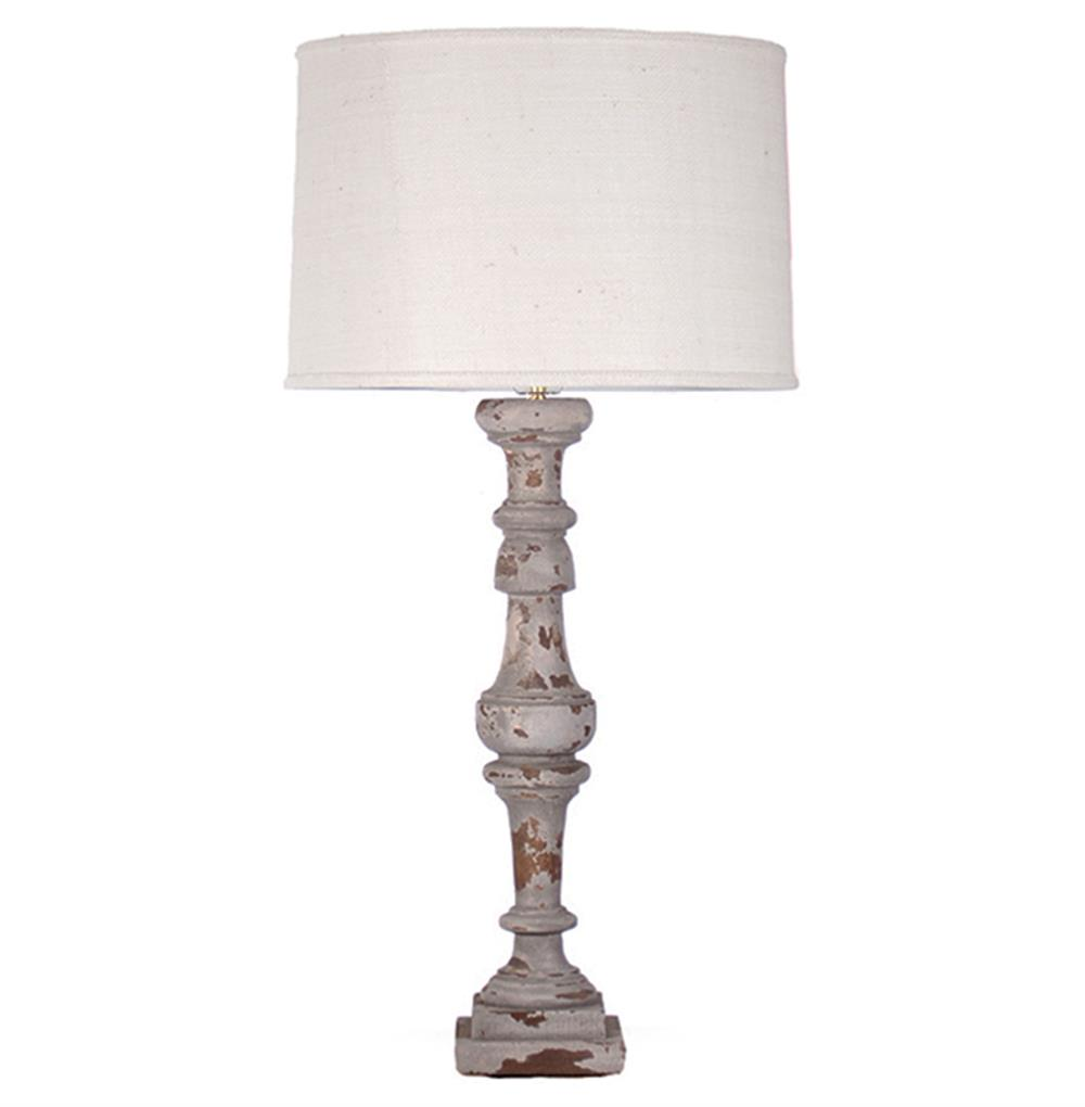 Agatha French Country Wood Linen Shade Lamp