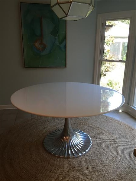 Oly Studio Luca Modern Round White Stone Top Silver Metal Dining Table - 48D Image 1