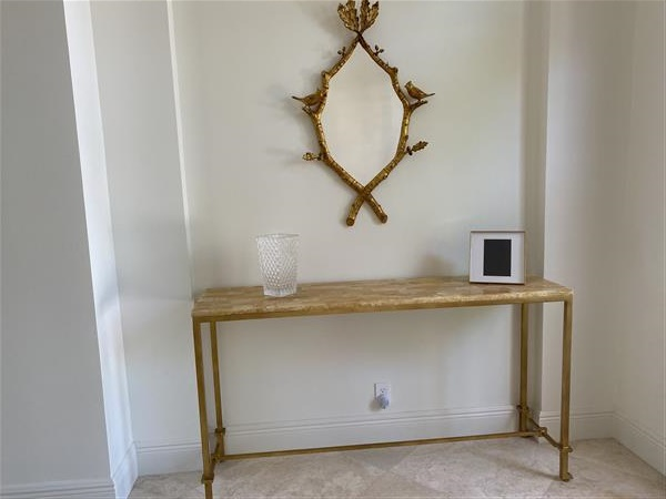 Classic Hollywood Regency Gold Leaf Console Table Image 1