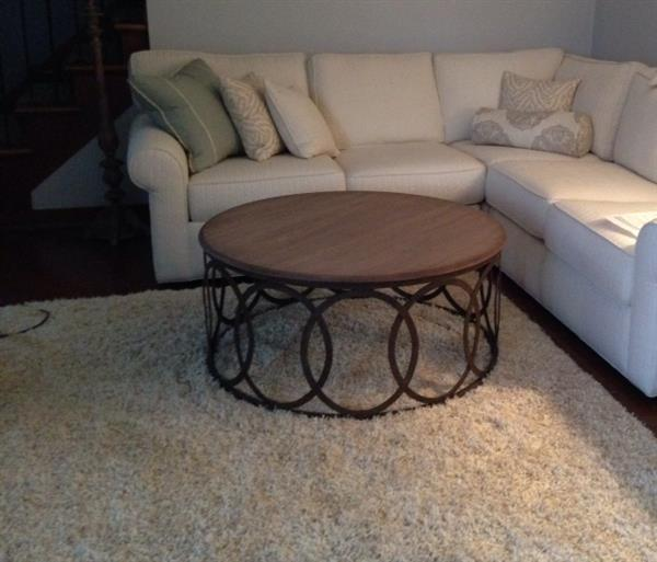Ella Rustic Oak Interlocking Circle Coffee Table Image 1