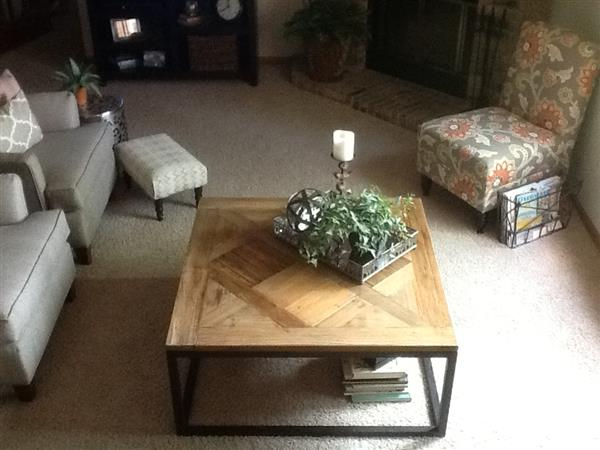 Gramercy Modern Rustic Reclaimed Parquet Wood Iron Coffee Table Image 2