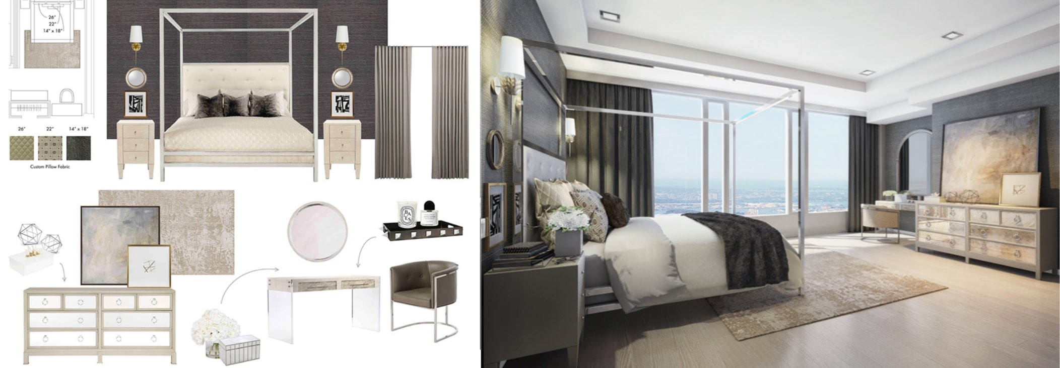kathy kuo bedroom design schematic