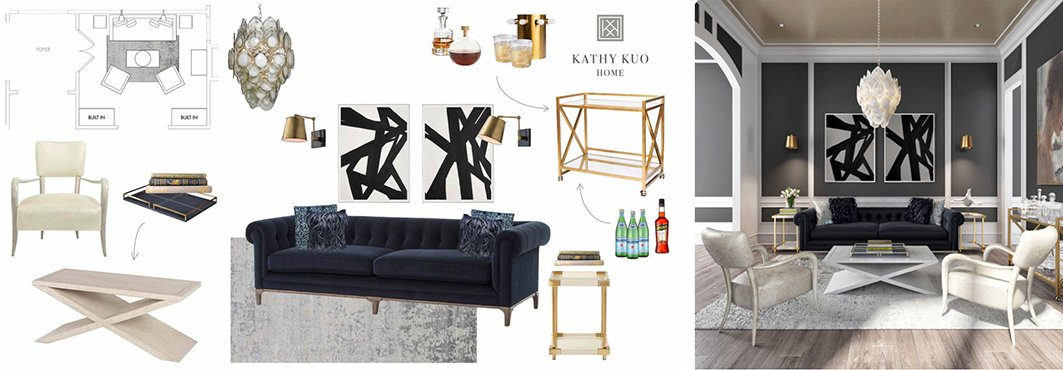 Collage of Interior Design Schematic and Modern Living Room Interior