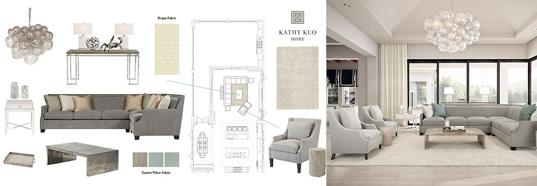 Collage of Interior Design Schematic and Grey Living Room Interior