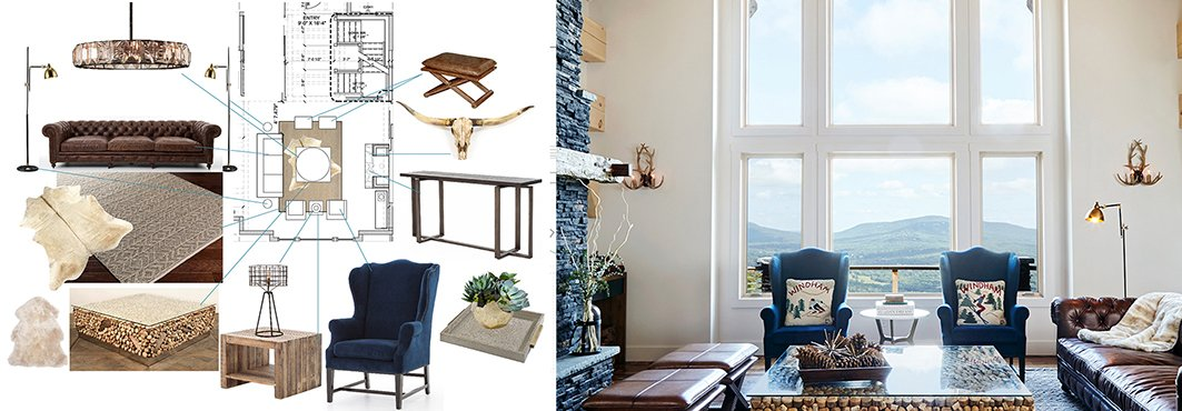 Collage of Interior Design Schematic and Rustic Lodge Interior with Big Windows