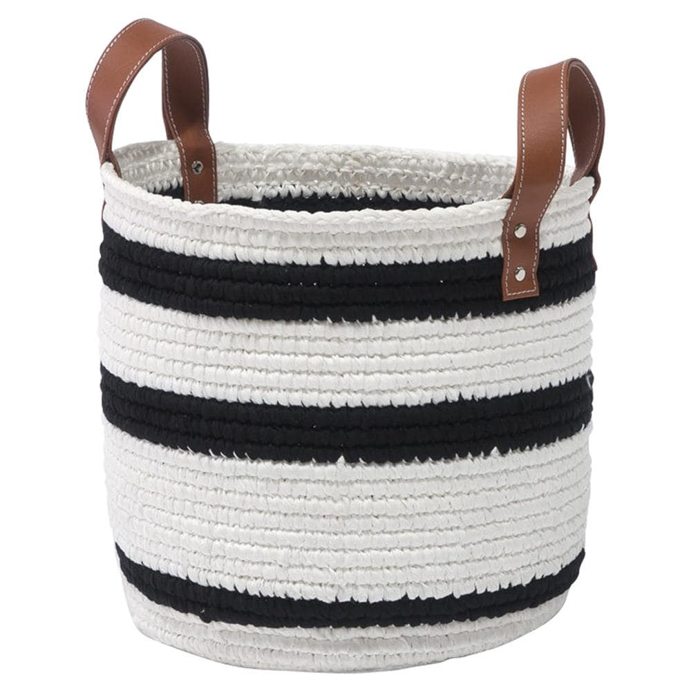 Black and White Striped Storage Basket