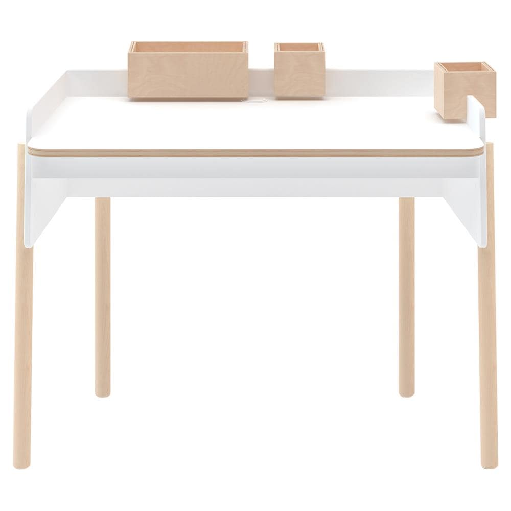 White Kids' Table with Wooden Accents