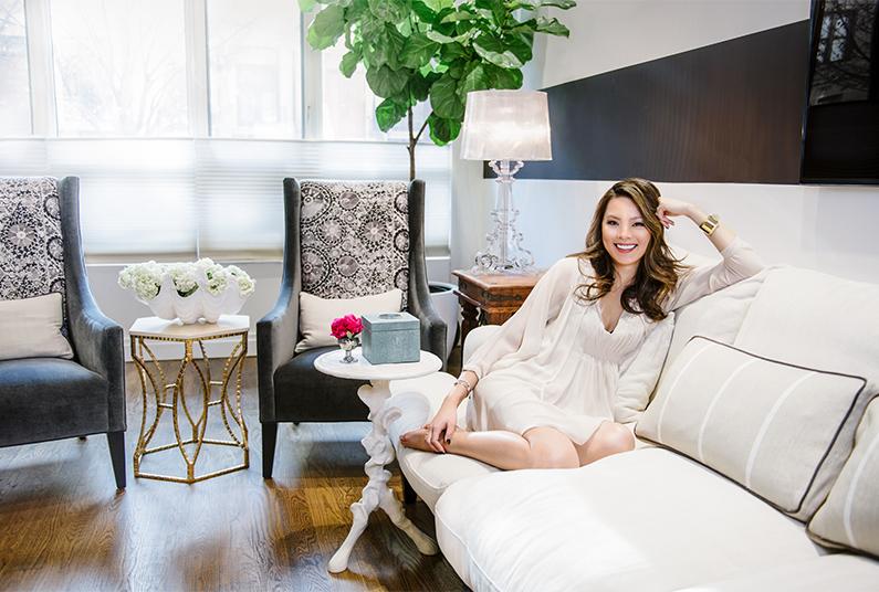 Kathy Kuo white sofa