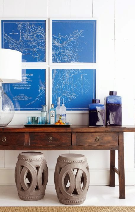 how to decorate with garden stools - bathroom
