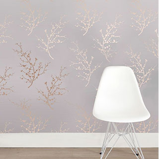 Sprig Modern Classic Metallic Bronze Taupe Removable Wallpaper