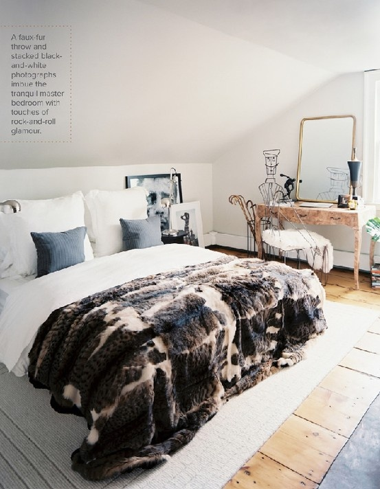 Crushing on decorating with faux fur blankets in the for White fur bedroom