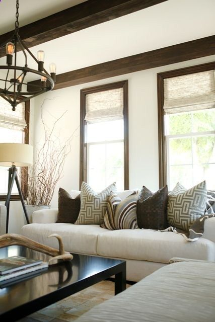 Neutral Living Room With Beamed Ceilings