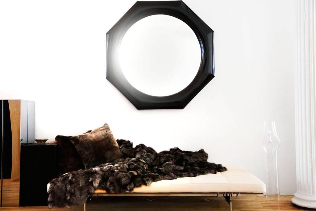 interior design with geometric mirror