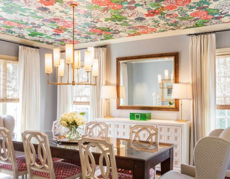 Currently Trending Wallpapered Ceilings | Kathy Kuo Home