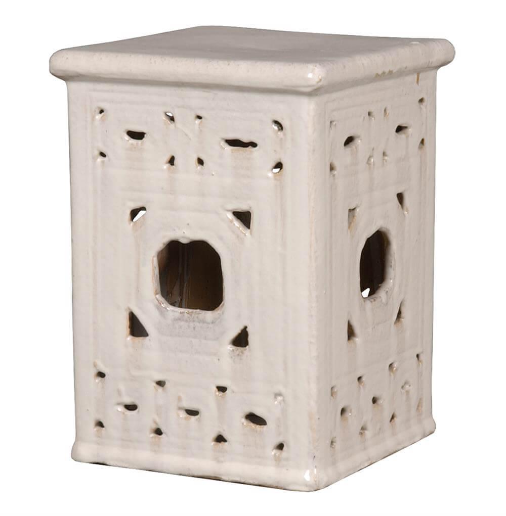 white garden stool