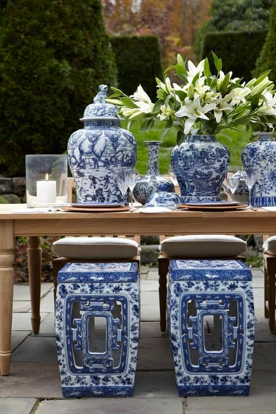 blue and white garden stools
