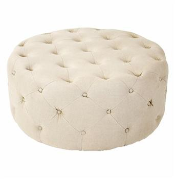 Amalia French Country Natural Linen Button Tufted Ottoman