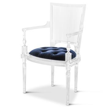 Acrylic Blue Mohair Velvet Dining Arm Chair